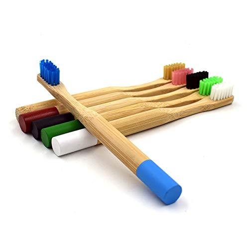Handgefertigte Bambus-Zahnbürsten für Kinder, mit mittelgroßen Borsten, Nylonfaser, abbaubare Borsten