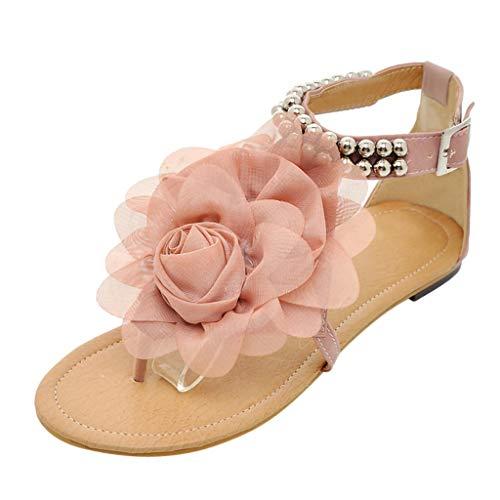iLPM5 Damen Sommer Böhmen Stil Flachen Sandalen Blumen Gürtelschnalle Klippzehe Runde Kappe Flache Freizeit Sandalen Schuhe(Pink,43) -