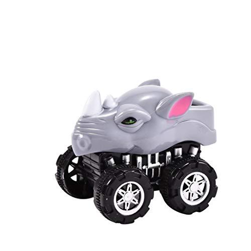 happySDH Mini Tier zurückziehen Spielzeugauto, 4-Pack Fahrzeugmodell Tier LKW Spielzeug Autos mit großen Reifen Rad, pädagogisches Spielzeug für Kinder Jungen Mädchen (Rhino)