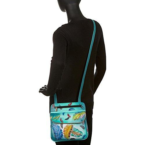 Anuschka handbemalte Ledertasche, Schultertasche für Damen, Handgefertigte Tasche für Frauen - Umhängetasche mit vielen Fächern (Floating Feathers 530 FFT) Floating Feathers