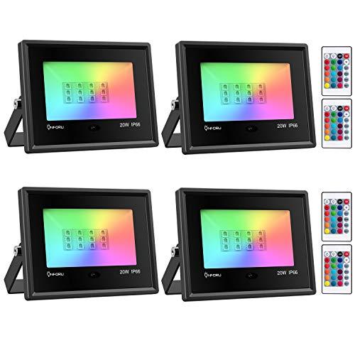 Onforu 4x 20W RGB LED Foco de Colores, Proyector IP66 Impermeable, Control Remoto Inalámbrico de 24 Teclas con 16 Colores y 4 Modos, Luz Interior y Exterior con Función de Memoria para Navidad Fiesta
