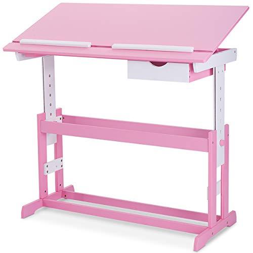 COSTWAY Kinderschreibtisch Kindermöbel Kinderzimmer Kindertisch Schreibtisch Schnülerschreibtisch Computertisch Bürotisch neigungsverstellbar höhenverstellbar Farbewahl (Rosa)