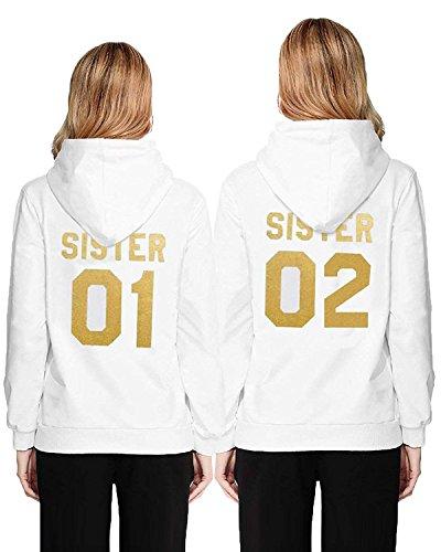 Femme Sweat à Capuche Imprimé Sister Pull Sport Manches Longues Sweat-Shirts Best Friends Pullover Blanc Or Sister 02 FR 34