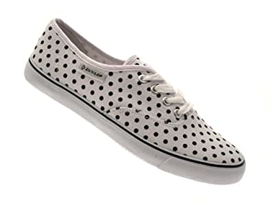 DUNLOP PLIMSOLES PLIMSOLLS PUMPS SHOES TRAINERS CANVAS WOMENS POLKA DOT WHITE SIZE 3