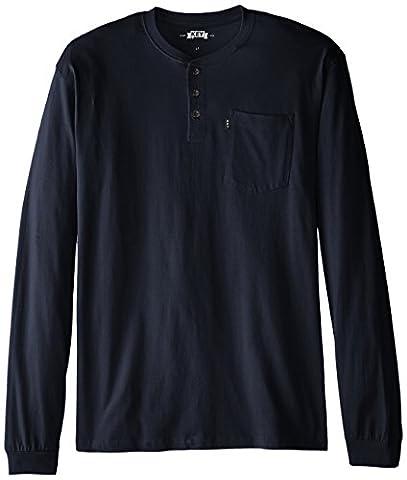 Key Apparel Men's Big-Tall Heavyweight 3-Button Long Sleeve Henley Pocket T- Shirt, Navy,