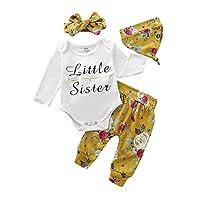 Borlai 4PCS Infant Baby Girl Fashion Clothes Little Sister Long Sleeve Romper Jumpsuit Floral Pants Hat Headband Letter Print Outfits 0-18Months[0-3 Months]