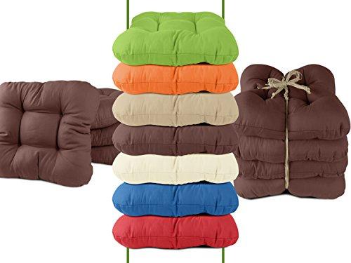 4er-Pack Stuhlkissen - bequeme und universal verwendbar in dezentem Design - Balkon + Garten + Terrasse + Esszimmer - erhältlich in 7 trendigen Uni-Farben, braun