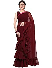 Magneitta Women's Georgette Solid Ruffle Saree