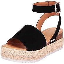 Sandalias Mujer Verano 2019 cáñamo Fondo Grueso Sandalias Punta Abierta Cuero Fondo Plano Zapatos Bohemias Romanas