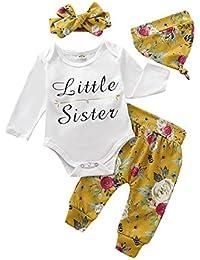 Borlai 4PCS Bebé niñas Little Sister Mono de Manga Larga Romper Pantalones Florales Sombrero Diadema Trajes de impresión de Letras 0-18 Meses