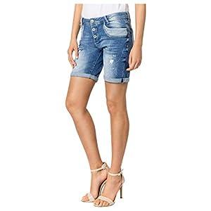 Sublevel Damen Shorts | Blaue Jeans Bermuda mit Destroyed Parts im Boyfriend-Style