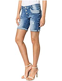 Sublevel Damen Shorts   Blaue Jeans Bermuda mit Destroyed Parts im  Boyfriend-Style db152adc14