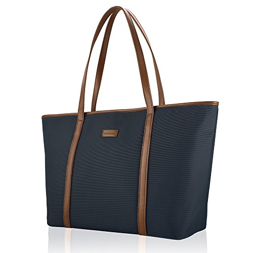 CHICECO Extra Large Nylon Tote Bag Shoulder Bag for Women - Navy Blue/ Brown
