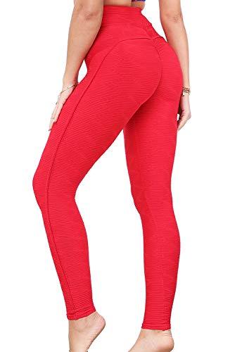 FITTOO Leggings Mallas Mujer Pantalones Deportivos Yoga Alta Cintura Elásticos y Transpirables1500#3 Rojo Extra Grande