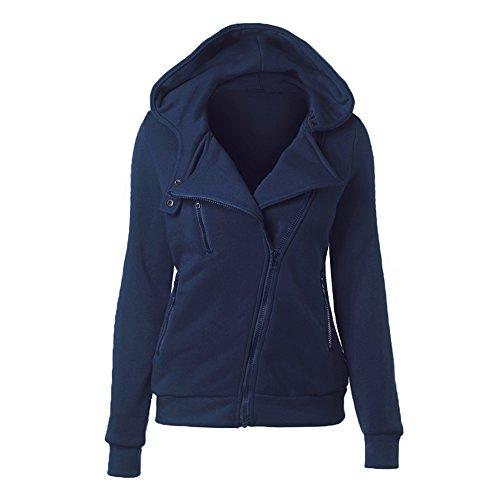 Baronhong Moda Laple Felpa Zip Tasche Cardigan Felpa Col Cappuccio blu scurocolor