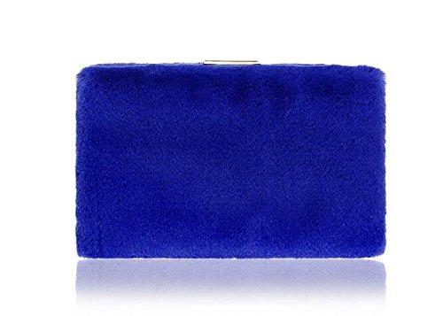 FZHLY Damen Abendtasche Plüsch Clutch Bag Abendkleid Tasche Blue