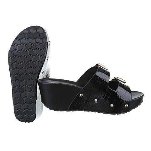 Pantoletten Damen Schuhe Jazz & Modern Keilabsatz/ Wedge Keilabsatz Ital-Design Sandalen / Sandaletten Schwarz