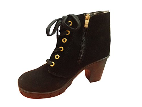 Boots Ankel Schn眉rsenkel Gaorui High Blockenabsatz Leder Stiefel Damen Stiefeletten Hells Schwarz St枚ckelschuhe PU mit xRTHFwTq