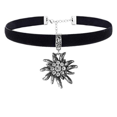 EROSPA® Oktoberfest Samt-Halsband mit Edelweiss Anhänger Damen Halskette Schmuck Velvet Dirndl Trachtenmode Wiesn schwarz