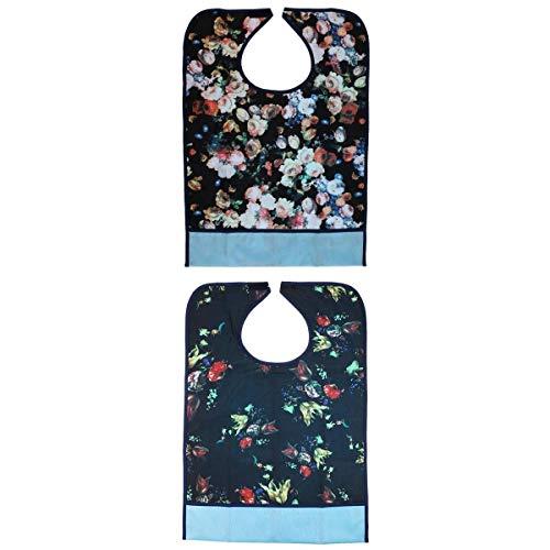 Fenteer 2 Stück Premium Wasserdicht Lätzchen für Erwachsene ESS-Schürze, Waschbar und Wiederverwendbar