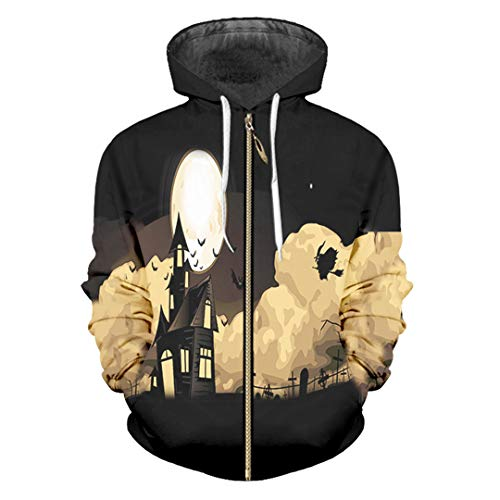 HensGalis Reißverschluss 3D gedruckt Halloween Kürbis und Camouflage Skull Zip Hoodies Ivory M (Tage 13 Secret Halloween Von)