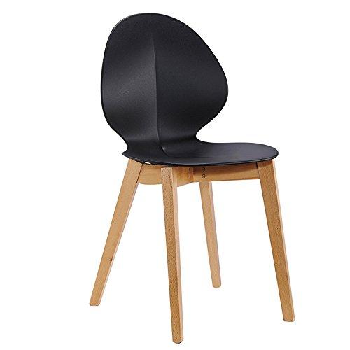 Lot de 2 chaises Design scandinave Noir, Lot de 2 chaises de Salle à Manger avec piétement en Bois
