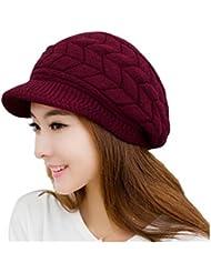 LEORX Cálido invierno de punto sombrero de vendedor de periódicos gorro nieve esquí Cap para mujer niña (rojo)