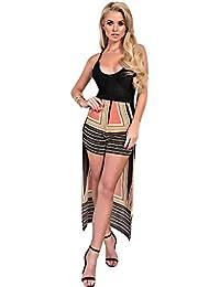 Women's Ladies Stunning Aztec Printed Long Back Floaty Summer Playsuit