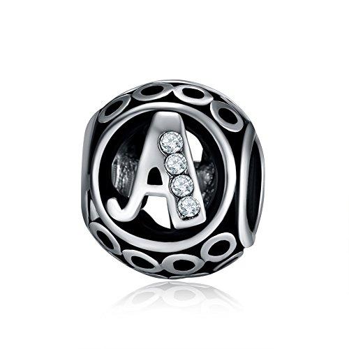 Waya plata charms alfabeto Una letra inicial colgante de cuentas para pulseras brazalete cadena de serpiente Europea joyería
