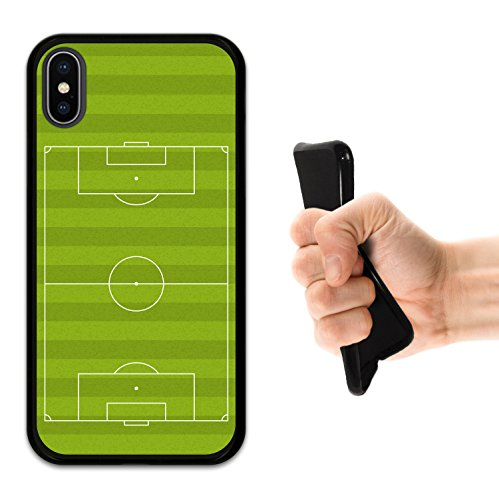 iPhone X Hülle, WoowCase Handyhülle Silikon für [ iPhone X ] Fußballfield Handytasche Handy Cover Case Schutzhülle Flexible TPU - Schwarz Housse Gel iPhone X Schwarze D0088