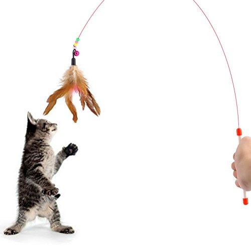 ULTNICE Kätzchen Katze Spielzeug Zauberstab Teaser Feder mit Bell Perlen (zufällige Farbe)