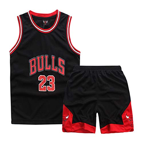 Sokaly Ragazzi Chicago Bulls Jorden # 23 Golden State Curry BOSTON Pantaloncini da Basket Jerseys set di abbigliamento sportivo Maglie Top e Shorts 3-10anni (Nero#23, XXL(9-10 anni))