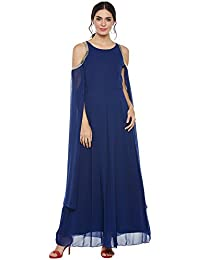 Blue cold shoulder embroidered dress with extended sleeves