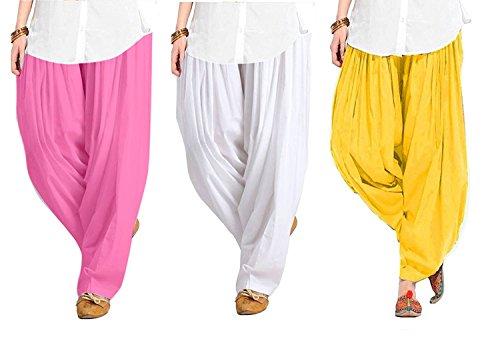 Spangel Enterprise Women\'s Soft Cotton Full Stitched Ready made Patiala Pants Bottom Salwar Patiyala Combo Pack Of 3 ( Pink, White, Yellow_Free Size)