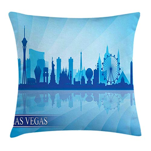 w Pillow Cushion Cover, Silhouette of an American City with Various Landmarks Nevada Downtown, Decorative Square Accent Pillow Case, Pale Blue and Blue,20 X 20 Inches ()