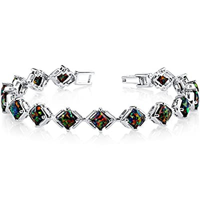 Revoni Black Opal Tennis Bracelet Sterling Silver Princess Cut 5.50 Carats