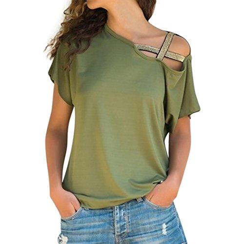 TEBAISE Mid-Season-Mode-Design Frauen-beiläufige Sommerferien-im Freien Tragen Dünne Lose Schulter-T-Shirt Kurzarm-Oberseiten-Bluse(Grün,EU-38/CN-S)