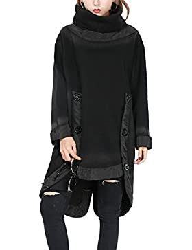 ELLAZHU Women Unique Design Turtleneck Cut Out Solid Fleece Sweatshirt GY1139 A