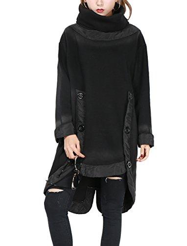 ELLAZHU Women Unique Design Turtleneck Cut Out Solid Fleece Sweatshirt GY1139
