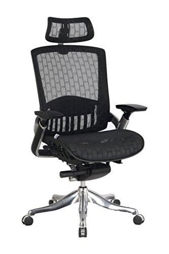 VIVA OFFICE Lussuoso sedia ergonomica ufficio, schienale alto, multifunzionale e mesh. Con tutte le sue parti regolabili e regolabili, con il cuscino del sedile, nero