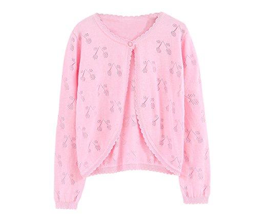 Zhuannian Girls Long Sleeve Cardigan Crochet Bolero Shrug Knitted Cherry Sweaters