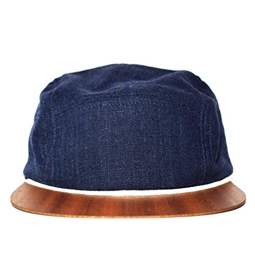 Classic Leinen Hut (5 Panel Cap blau Leinen mit edlem Holzschild Made in Germany - Unisex Kappe - Sehr leichte & bequeme Cappy - One size fits all Snapback Cap)