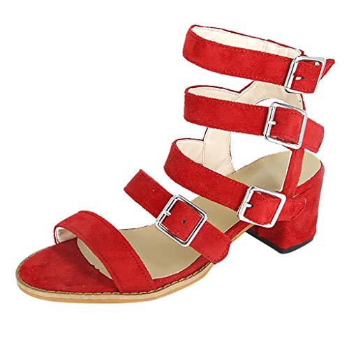 ABsoar Sandalen Damen, Pumps Fisch Mund High Heels Schuhe Mode Sexy Streifen Sandaletten mit Quadratische Ferse Frauen Arbeitsschuhe Knöchelhohe Partei Spitze Schuhe Sommersandalen (Rot,36)