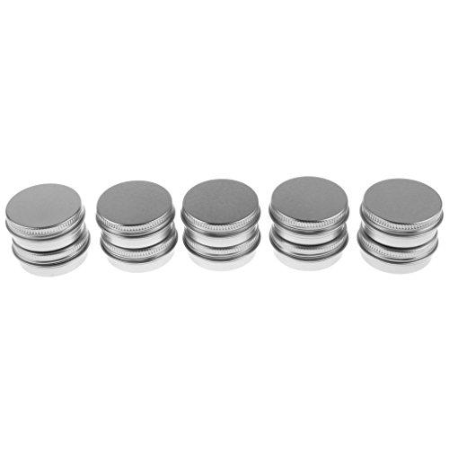 MagiDeal Lot 10pcs 20ml Boîte Boîtier Pot à Crème Cosmétique Gel de Maquillage Pommade Pilules Médical en Aluminium - Couvercle 01