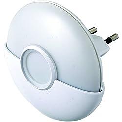 Electraline 58304 Luce Notturna a LED con Sensore Crepuscolare, Bianco/Trasparente