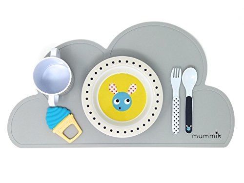 Mummik 2 Pack Silicone Cloud Placemat, Non Slip Resistant Baby Placemats, Portable Table Mat for Toddlers and Kids, Waterproof Heat Resistant Pot Holder, Stylish Multi-Purpose Portable Table Ware, Childrens Placemat (Light Grey) | Silicone Teether Included