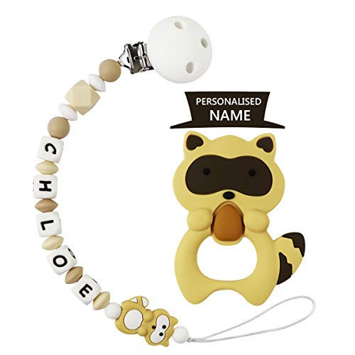 Schnullerkette mit Namen Mädchen Schnuller Clip Silikon Perlen Beißring Zahnen BPA Frei für Babys (Khaki mit Beißring)