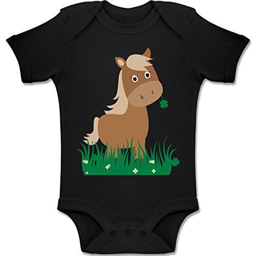 e Baby - Süßes Pferd - 12-18 Monate - Schwarz - BZ10 - Baby Body Kurzarm Jungen Mädchen ()