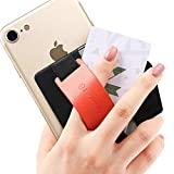 Sinjimoru Phone Grip Card Holder with Phone Stand, Stick on Wallet Functioning as Safety Card Holder for ID/IC Card Useful Leather Phone Stand And Phone Holder. Sinji Pouch B-Grip, Arancio.
