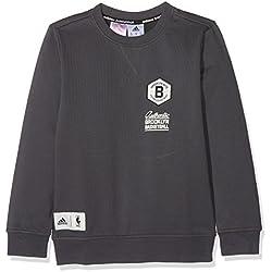 adidas Brooklyn Nets Washed Crew Sudadera Niños NBA Sweats, niño, S14086, negro/blanco, 128